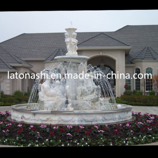 Cheap White Marble Stone Garden Larger Water Fountain with Statue pictures & photos