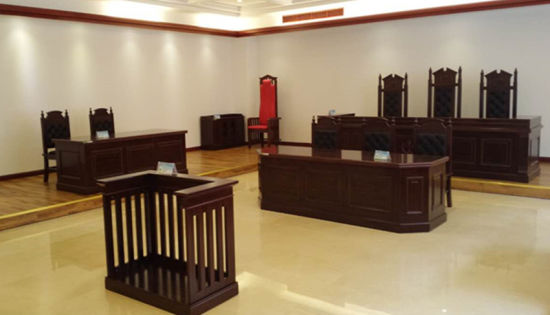 Top Quality Wholesale Government Supply Wood Veneer Courtroom Furniture Judge Table and Chair