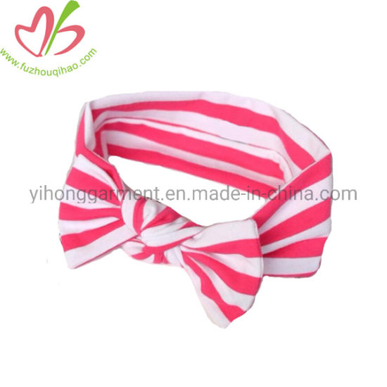 Elastic Stripes Baby Girl Headband with Butterfly Bow for Decoration