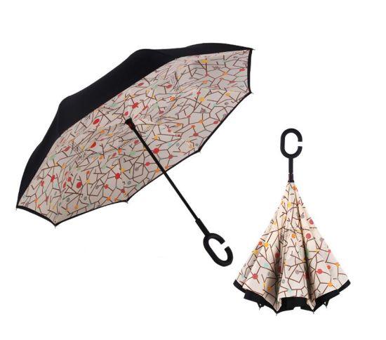 US Windproof Double Layer Upside Down Inverted Umbrella C-handle Reverse-Design