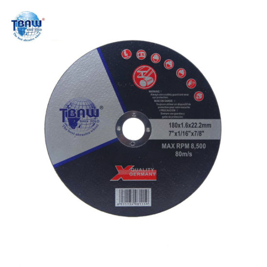 """7""""180*1.6*22mm Factory Quality OEM Flat Center Hardness Cutting Abrasive Wheel Cut off Disc for Metal, Stainless Steel"""