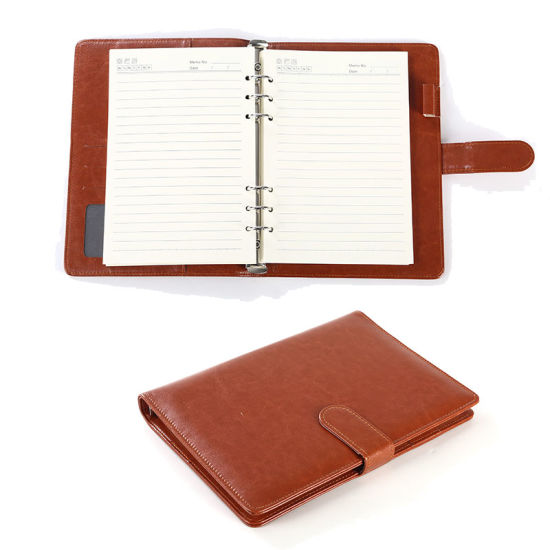 Fine Classic PU Leather 6 Rings Binder Spiral A6 A5 Agenda Planner Organizer Stationery Reusable Notebook