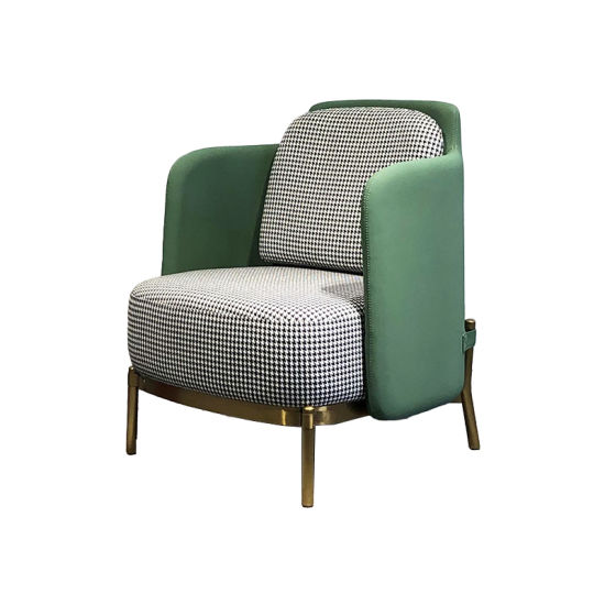 Chic Leisure Chair with Arms Houndstooth Fabric Armchair Single Sofa Chair