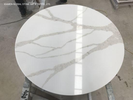 China Factory Artificial Quartz Stone Round Calacatta Oro Quartz Coffee Table for Hospitality Furniture Design