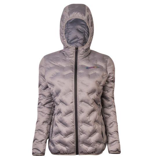 Winter Women's Wholesale Grey Special Embossed Printing Warm Padded Short Jacket Coat