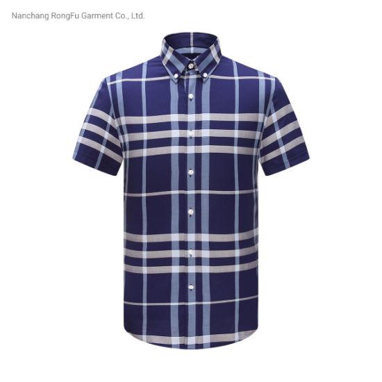 Classic Short Sleeve Shirt Men's Fashion Contrast Color Plaid Shirt