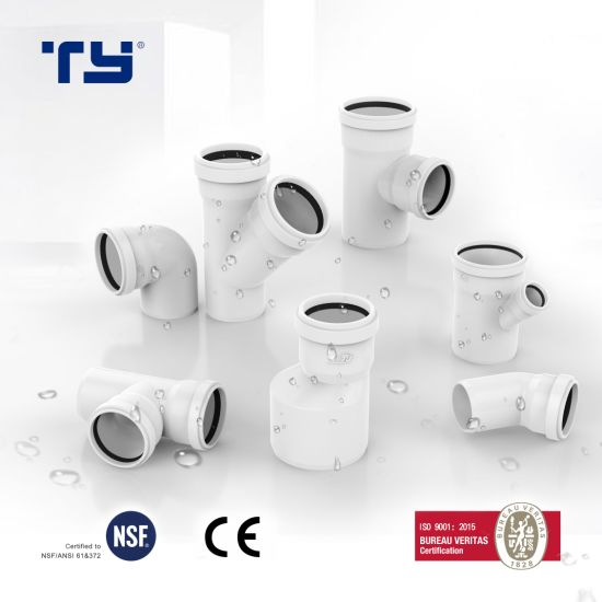 PVC (CPVC/ PP /PPR) Plastic Pipe Gasketed Push Drainage System Joint Fitting