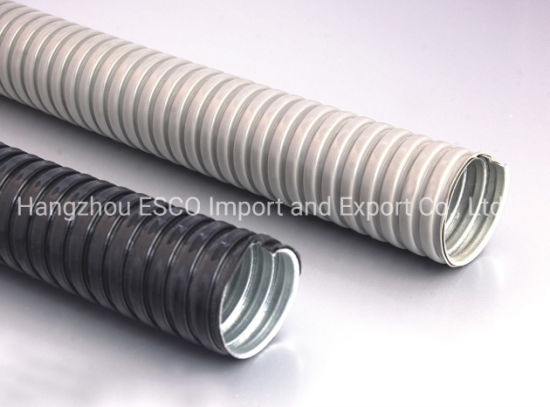 Grey/Black PVC Coated Gi Metal Steel Corrupted/Flexible Tube/Conduit/Pipe for Cable/Wire