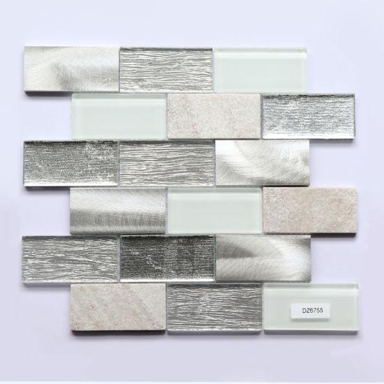 China 300x300mm Modern Decorative Backsplash Wall Tile White Glass Stone Mosaic China Backsplashes Tile Kitchen Tiles