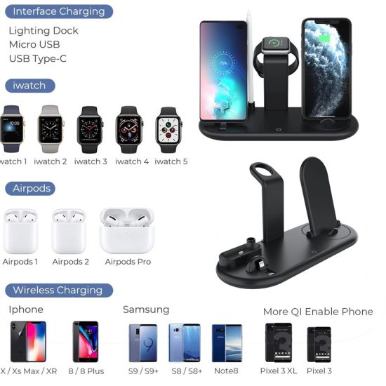 The Factory Wholesale Wireless Charger, Portable USB/ Bank/iPhone/Xiaomi/Samsung/Smart Watch Charger Mobile Phone Accessories