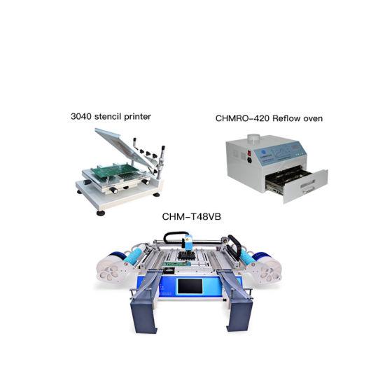 SMT Production Line: Chm-T3040 Stencil Printer + Chm-T48vb Pick and Place Machine +Reflow Oven Chmro-420