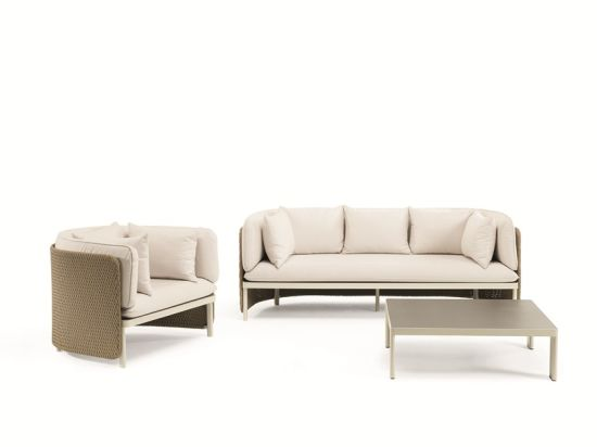 Modern Outdoor Sofa with Rattan Armrest and Waterproof Fabric Seat