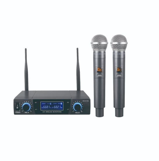 Dual Channel Handheld Wireless System with a Carrier and Two UHF Wireless Handheld Microphones for KTV Sound