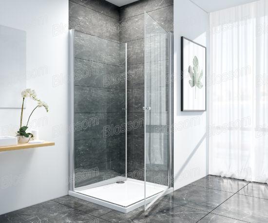 6mm Corner Entry Swiveling 180 Pivot Swing Door Bathroom Frameless 2 Sided Simple Glass Shower Room