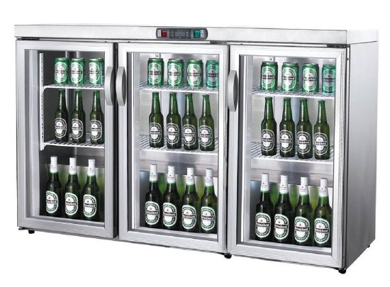 China Commercial Counter Top Three Glass Door Beverage Refrigerator