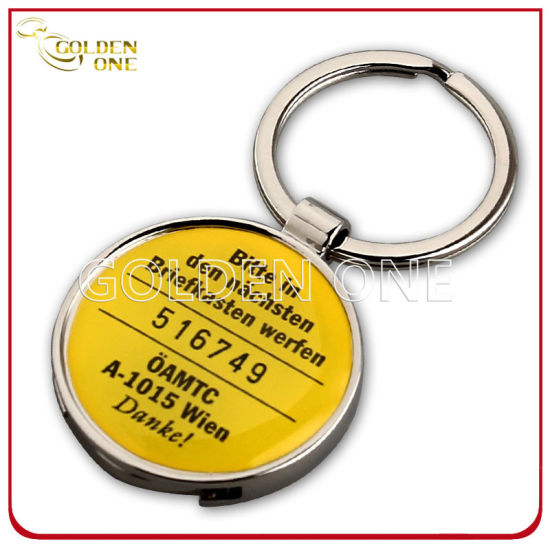 Custom Printed Shopping Cart Metal Trolley Coin Holder Key Chain pictures & photos