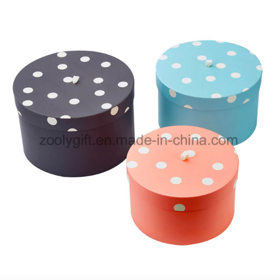 China Wholesales 3 Pieces Nested Gift Towel Round Hat Boxes With Lid
