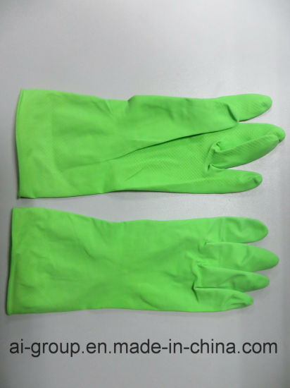 Light Green Latex Glove for Agriculture, Fruit Harvesting, Garden Maintenance, Household and Janitorial, General Industrial Handling pictures & photos