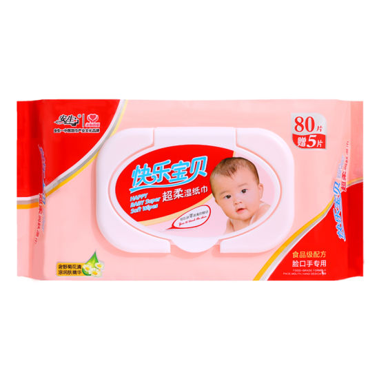 Baby Non-Alcoholic Cleaning Wet Wipes 80PCS with Plastic Lid pictures & photos