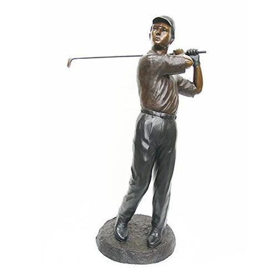 Outdoor Garden Decor Bronze Children Boy Playing Golf Statue
