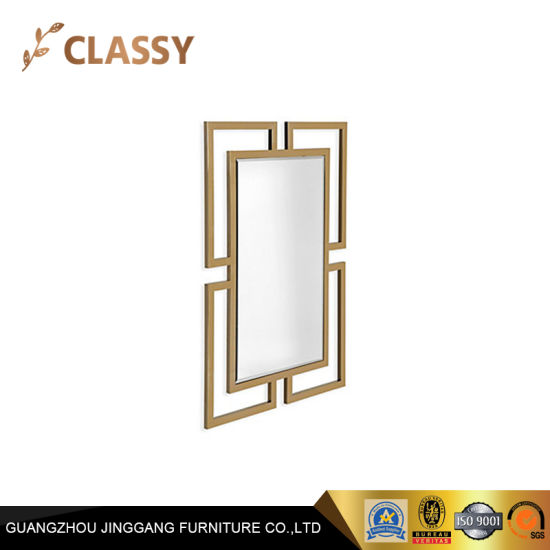 Hotel Lavatory Golden Metal Frame Rectangular Shape Decorative Glass Wall Mirror
