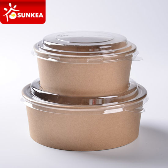 Disposable Paper Salad Food Packaging Cup with Lid pictures & photos