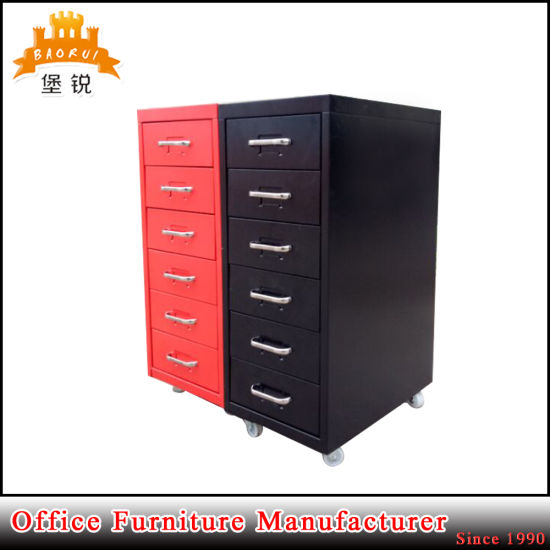 Children Use Small Metal 6 Drawer Office Storage Cabinet