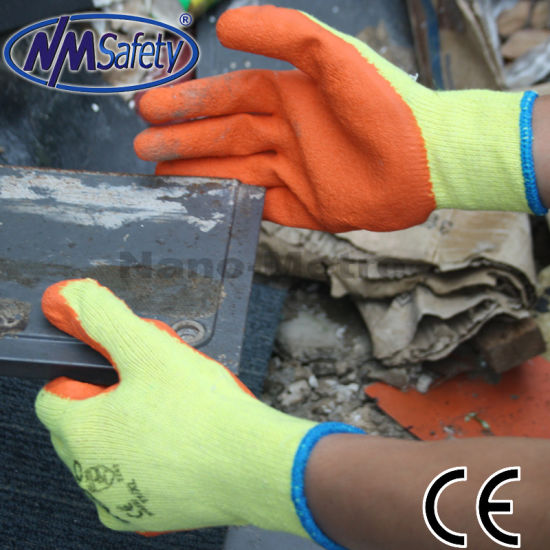 Nmsafety 10g Poly-Cotton Coated Orange Latex Cheap PPE Safety Labor Work Glove