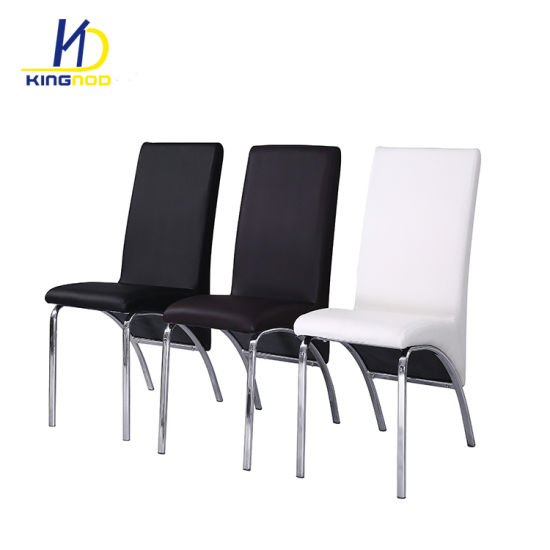 Modern Design Metal Chrome Legs Comfortable Ergonomic Pu Leather Dining Chair