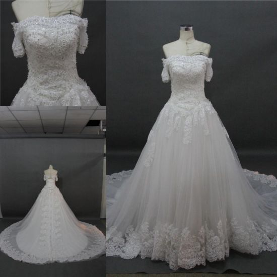 OEM China Wholesale off Shoulder Lace Beading Bridal Gown Wedding ...