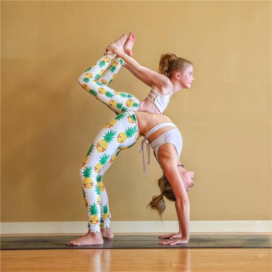 b9a00b82c39c5 Embroidered Kids Girls Child Leggings Yoga Pants Pineapple Digital Print