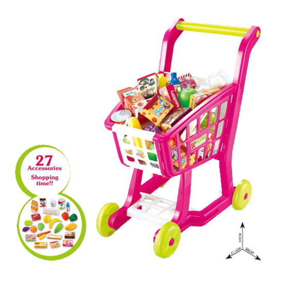 Plastic Kids Pretend Play Set Supermarket Shopping Cart Toy (10246186)