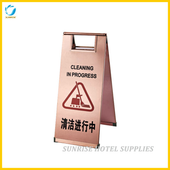 Hotel Lobby Rose Gold Caution Warning Sign