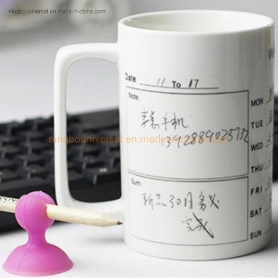 Personalized Schedule Ceramic Mugs Instead Notebook Writable Cup Memo Writing Coffee Mugs Multifunction Weekly Daily Office Mugs pictures & photos