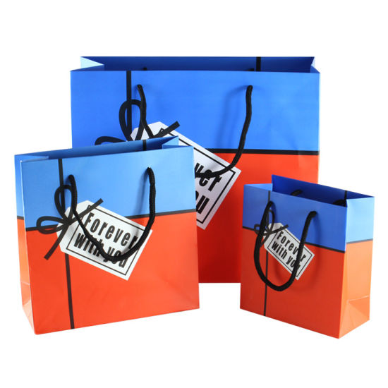 Custom Printing Logo Advertising Paper Bag with False Label pictures & photos