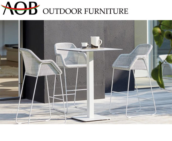 Modern Garden Home Hotel Furniture Poolside Deck High Stools Rattan Dining Table Bar Sets