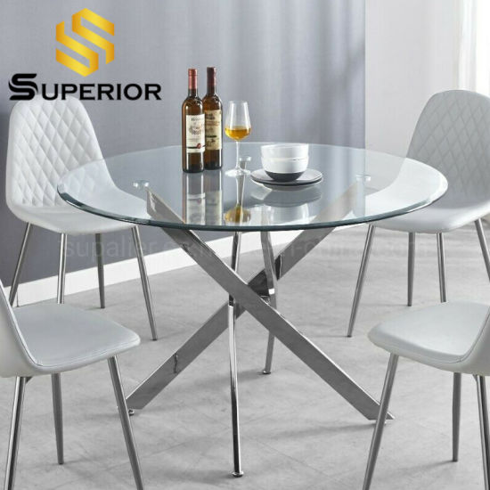 China Home Metal Small Round Shape Transparent Glass Dining Room Table China Restaurant Table Stainless Steel Dining Table