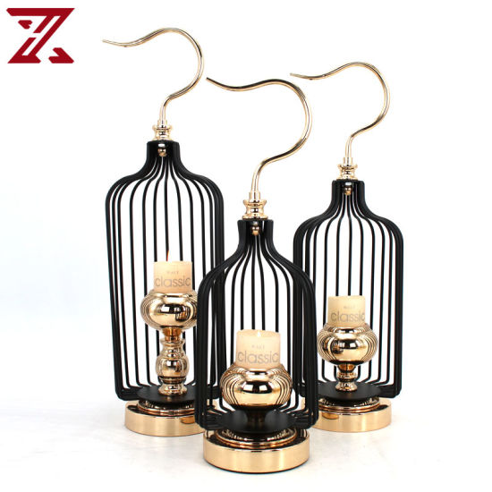Factory Direct Minimalist Candlestick Circular Metal Lantern Candle Holder for Home Decor