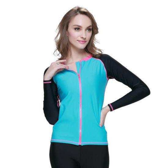 High Elastic Front Zipper Lycra Long Sleeve Surfing Suit for Women