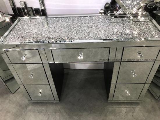 Stylish Crushed Diamonds on Top with 7 Storage Drawers Mirrored Dresser