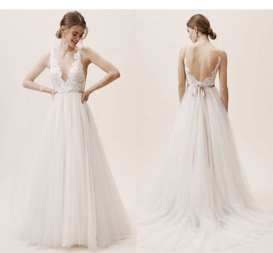 China Long Sleeves Bridal Gowns Lace Satin A Line Wedding Dress
