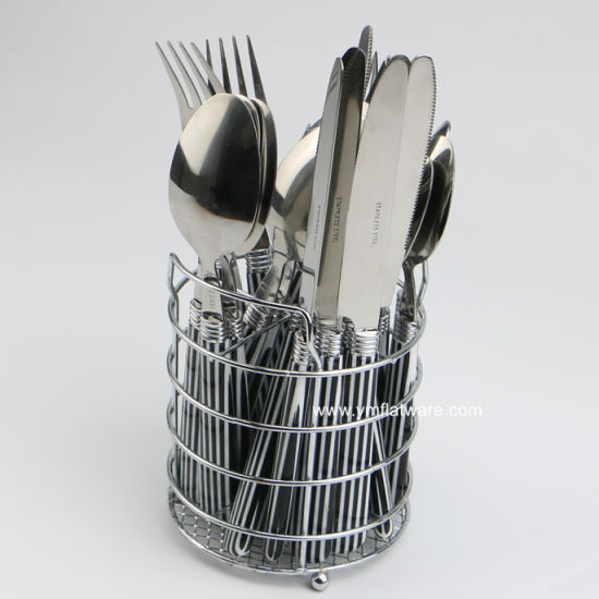 Hot Item 24pcs Black Line Design Stainless Steel Cutlery Set With Metal Wire Holder
