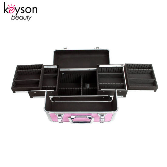 China Aluminum Makeup Artist Travel Cosmetic Vanity Case With Lock