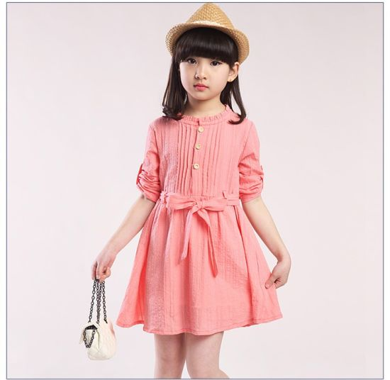 High Quality Baby Girl Dresses Frock Design Linen Fabric Wholesale Kids Clothing Girls Dress