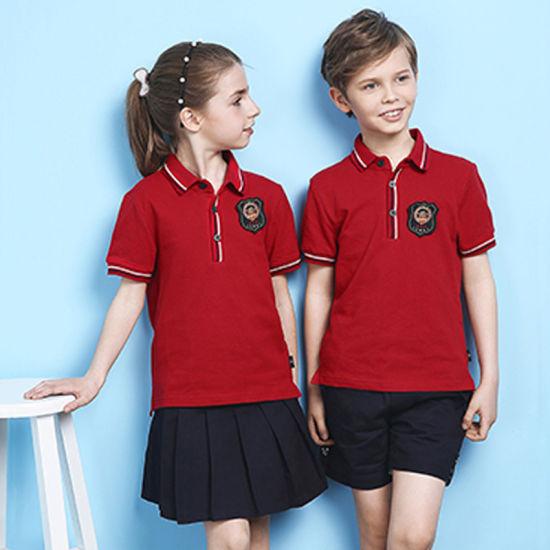 Red Primary School Uniforms Kids School Uniform Design