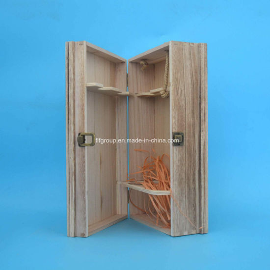 Customized Antique Natural Solid Wooden Box for Wine Storage