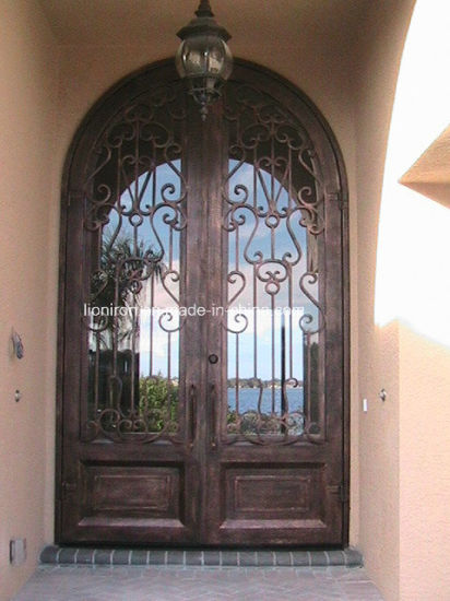 Round Top Wrought Iron Front Entry Doors for Villa pictures & photos