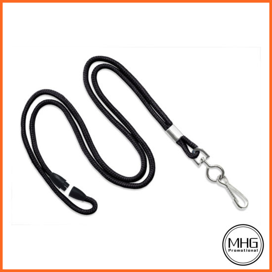 1/8′′ Black Round Braid Lanyard with Safety Breakaway & Swivel Hook pictures & photos
