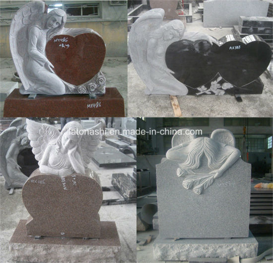 Black/Grey/Red Marble/Granite Angel Headstone for Grave pictures & photos