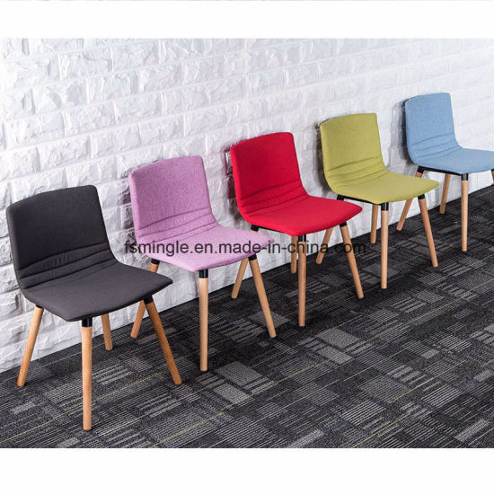 Colourful Fabric Armless Leisure Chair with Wooden Legs